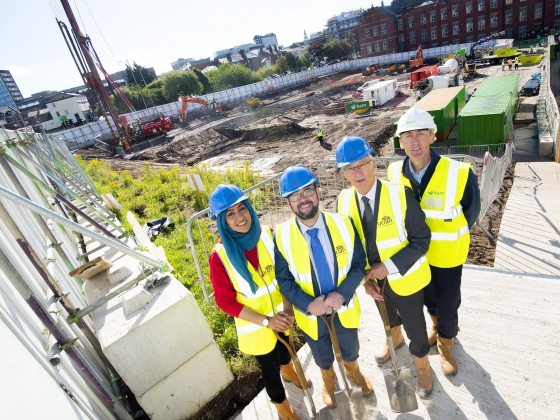From left: Sana Iqbal - President of the Student Union, Michael Ahern – COO, Dave Smith - Director of Capital Projects and BAM's Project Manager Simon Atkinson.