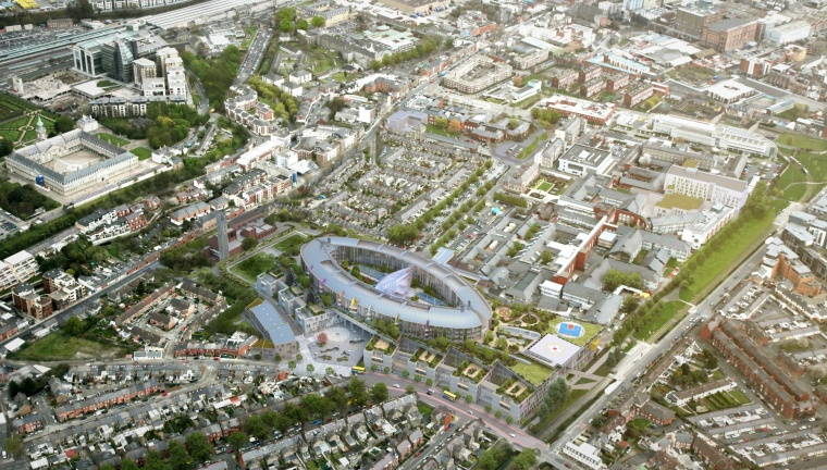 Aerial view of the new children's hospital (artist's impression).