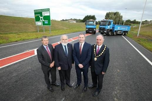 Conor Loughrey TransportNI, Francie Molloy (MP), Minister Hazzard and Chair of Mid-Ulster Council Trevor Wilson.