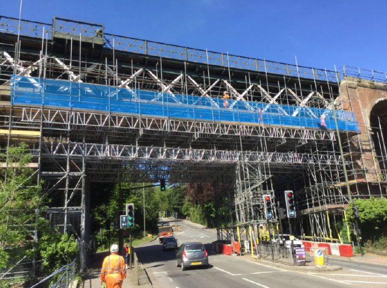 Work on viaduct well underway high above streets of Oxted, Surrey