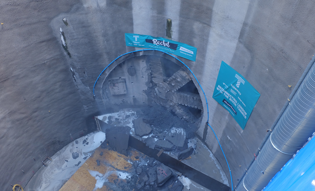 TBM Rachel breaks through after 7 km journey from Fulham to Acton