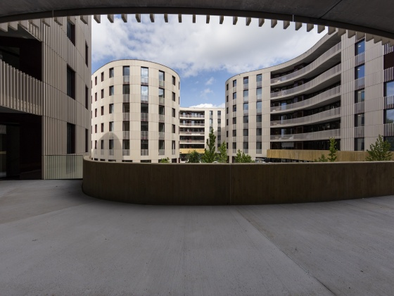 A glance into the courtyard of the new HWO building. (Photograph: ETH Zurich/Alessandro Della Bella).
