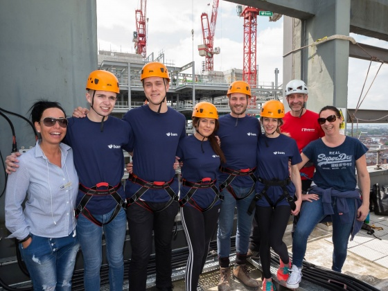 BAM's Three Snowhill team abseils 200 feet to help Birmingham homelessness charity