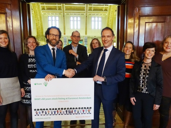 BAM donates trees to Euronext at sixty years listing