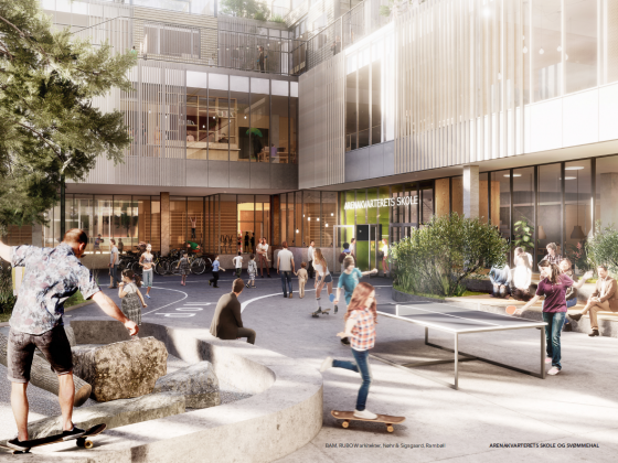 BAM wins new design and build contract for Danish school. Artist's impression: RUBOW arkitekter.