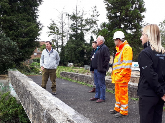 Hexham MP Guy Opperman is shown around Ponteland Flood Scheme. Image: Environment Agency.