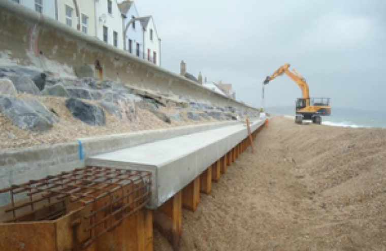 The sea wall, protecting a row of properties on the seafront at Torcross.