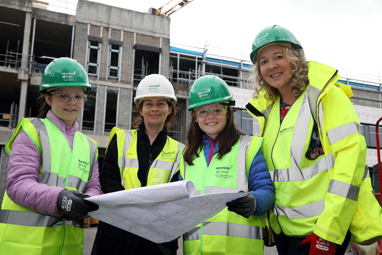 Attracta Mathews, Community Benefits Advisor of GRAHAM-BAM Healthcare Partnership, a joint venture between GRAHAM and BAM Contractors Ltd and Kelli Johnston from WOMEN'STEC are pictured with (l-r) Aibhne Mellon O'Halloran and Bronwyn Beatty from East Belfast.