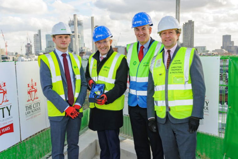 Seventh floor of City Law School building construction celebrated with topping out ceremony