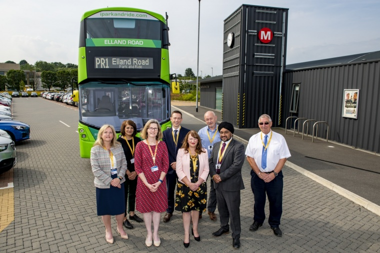 Park and Ride - Elland Road: Cllr Lisa Mulherin and Cllr Kim Groves (centre) joined by Connecting Leeds partners from Leeds CC, West Yorkshire Combined Authority, First Buses and BAM Nuttall.