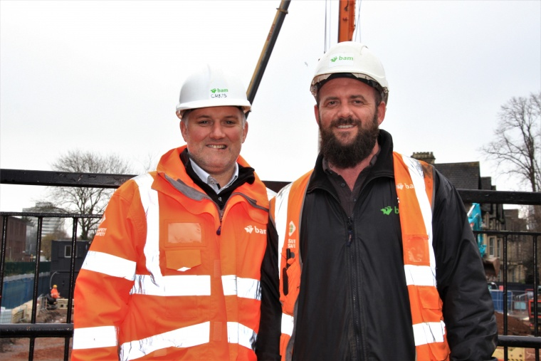 Christian Parton, project manager for BAM (left), with Craig Taylor, gateman (right).