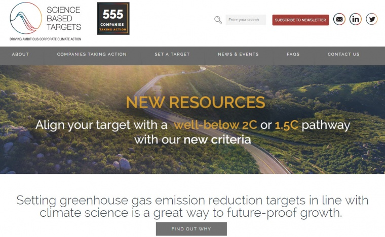 Screenshot website sciencebasedtargets.org